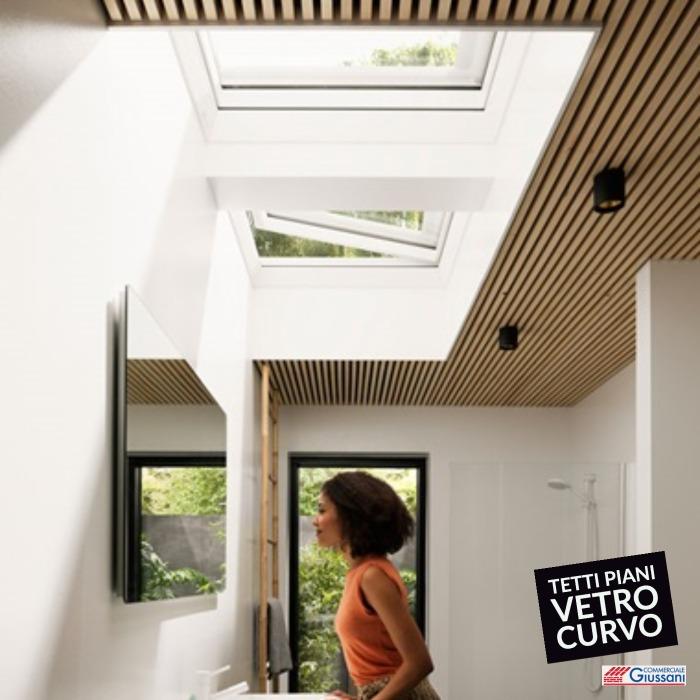 Finestre tetto piano vetro curvo bagno giussani barlassina cormano